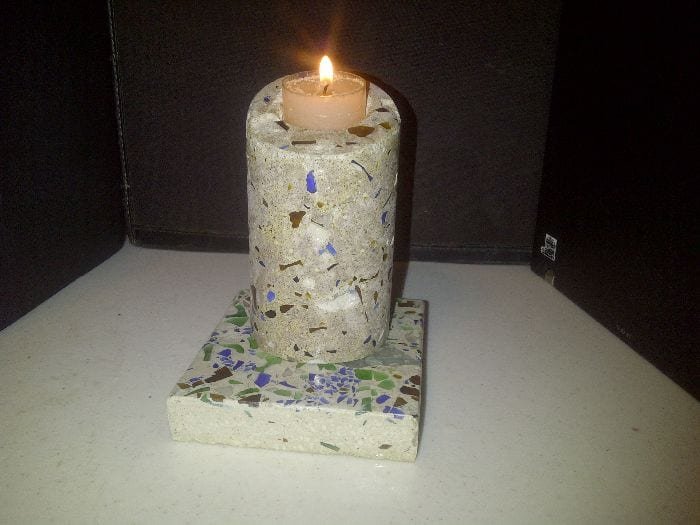 A Greencrete candle holder